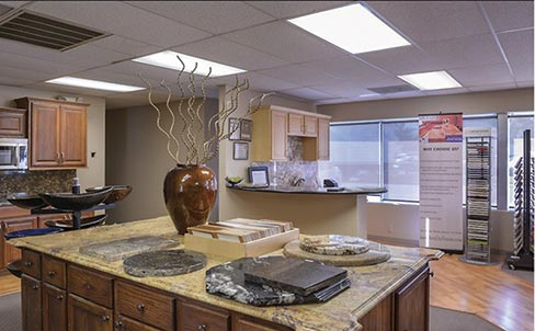 The original Arch City Granite & Marble showroom in St. Louis features attractive vignettes of varying type and colors of stone. According to Owner Govi Reddy, an extensive  makeover is planned to better reflect the company's current products.