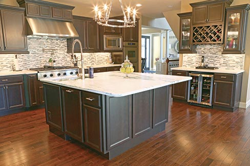 Mountain White Danby Marble countertops fabricated and installed by Arch City Granite & Marble in a contemporary kitchen in St. Louis, Missouri. Kitchens made of Danby marble are a becoming more popular every year.