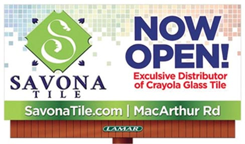 General Manager Mark Nielsen went on to state that the American homeowner is immediately drawn to the Crayola name. His company has done so well with the product, that Savona Tile is now featuring the series on its current billboard advertising program, as well.