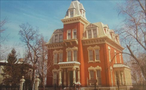 The stately 19th century Hiram B. Scutt mansion is listed on the National Register of Historic Places and a prime example of the use of Joliet limestone for the  foundation, lintels, columns and other structural embellishments.