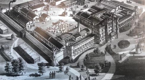 19th century engraving shows an aerial view of the Illinois State Penitentiary grounds, including part of ongoing stone processing operations (center of the image). The prison building was used to film the movie Prison Break and also was used in the first Blues Brothers movie, where Elwood Blues picks up Jake, outside a tall, foreboding prison wall.  There are a lot of visitors to the Joliet museum, and a top request is 'we want to see the prison.'