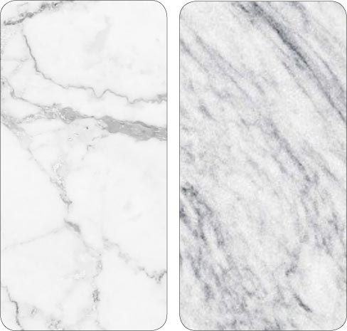 Left: White marble; Right Quartzite sample. Some white marbles have been misclassified as a quartzite. Be aware that with some non-quartzite stones, the only sure way to know is to test for confirmation.