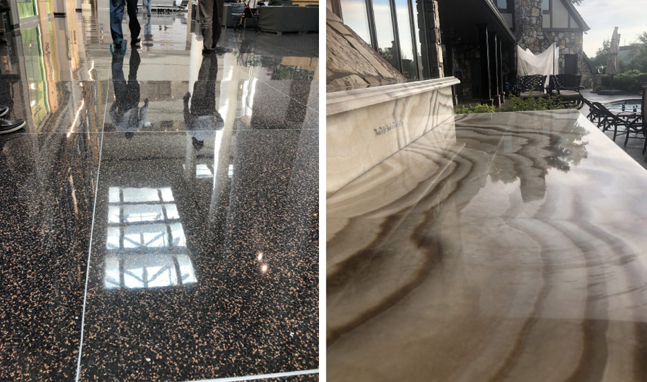 Above, Left: Specializing in commercial terrazzo polishing means occasional chemical stripping and grinding, and also working off-hours when the facility is closed.  Above, Right: Outdoor countertops are generally for higher-end installations. Most owners are willing to spend proportionally for upkeep, like this stunning Onyx top.