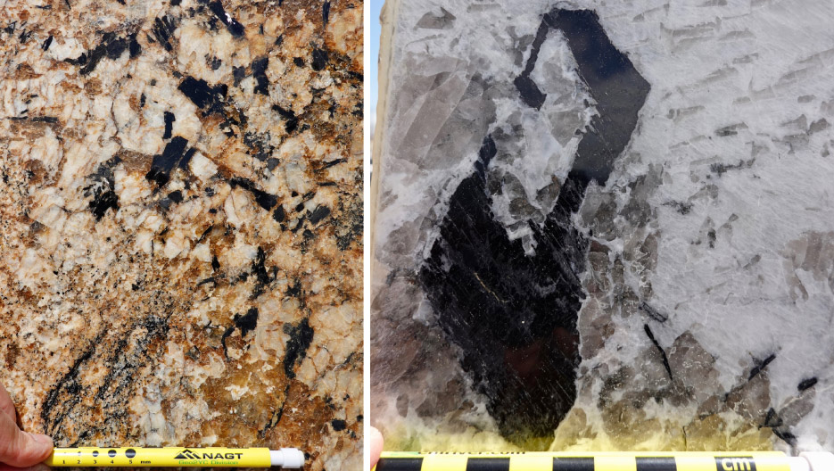 Above, left: Amphibole showing off its characteristic black rectangles. The white is feldspar, and the copper color is quartz. The small flecks of black just above the left side of the pencil are black mica. This stone is called Sedna. Above, right: Don't ask me to explain how this piece of amphibole got this interesting shape. But it sure is cool! The slab is Alaska White.
