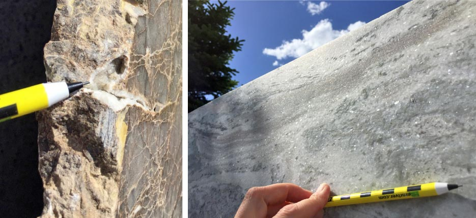 Above, left: Calcite fills in pore spaces in this limestone. On the edge of this slab is a small, crystal-lined pocket.  Above, right: Calcite crystals reflect light off of their flat planes. Leathered Fantasy Brown.