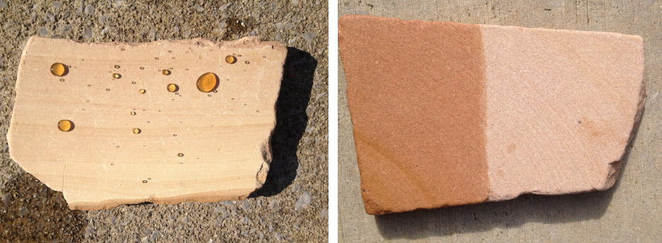 Above, left: Sandstone with Majestic Low Odor Impregnator applied. The test liquid beading up is Southern sweet tea. Above, right: Sandstone — half with color enhancer applied.