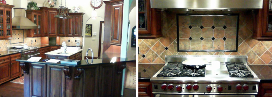 "Above, left and right: two ""before"" photos of an outdated kitchen. This mix of styles is dark, heavy, and in serious need of a reboot."