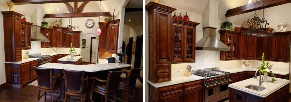 This stunning transformation by Solid Surface Designs features 3cm Taj Mahal Quartzite with an ogee edge on perimeter and upper bar surfaces,  and a 6cm stacked lamination ogee over bullnose on the center island. Solid Surface Designs'  transformation lightens up the whole room and makes the kitchen a more  comfortable space to  cook and entertain.