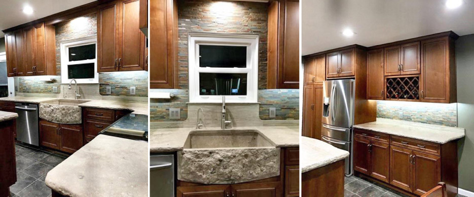 The front of this new custom farm sink features numerous brachiopod fossils. The apron was hand chiseled to expose the fossils in 3D – making this transformation truly a one-of-a-kind kitchen.