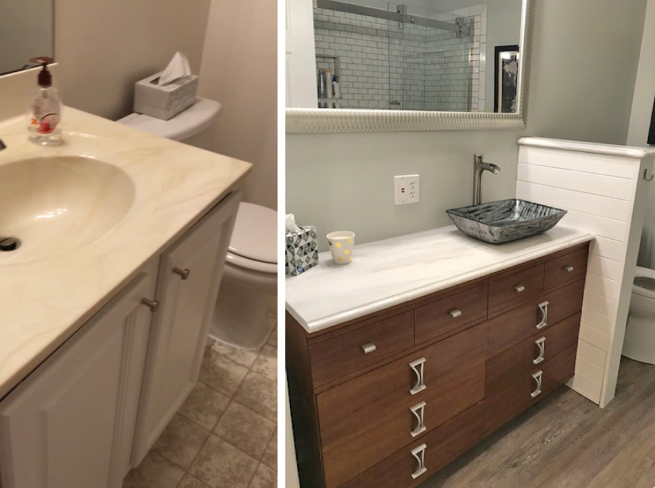 Bath and vanity transformation can be done on a budget: this DIY project replaced a cultured marble vanity top with real marble (3cm Arabescus White) from a remnant stack, with a vessel sink, dresser and pony wall for a completely new look.