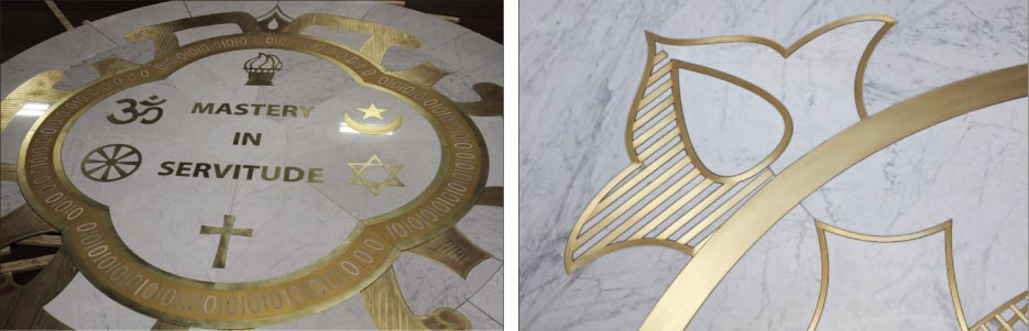 Above, Left: The 25-foot emblem in the center of the sanctuary was fabricated by Creative Edge Master Shop, made in 50 segments in their Fairfield, Iowa facility.  Above Right: The medallion inlay includes marble, brass, bronze and gold-infused ceramic tile.