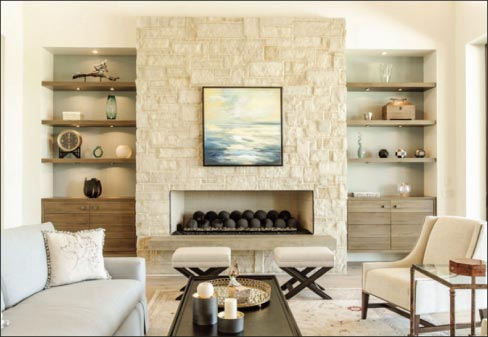 Dark Antique limestone facelift utilizes storage space on either side of the stacked stone.