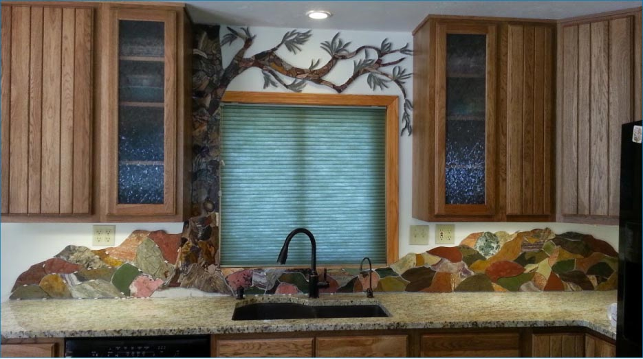 The humble backsplash re-imagined as a colorful, one-of-a-kind piece of art.