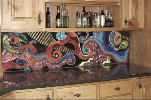 "The full-height backsplash Waves in Color is six feet by eighteen inches high. ""To be honest, when I'm working, sometimes I'm not sure how I'm going to finish the background, but as I progress it reveals what the final will look like. That was true with Waves in Color. I didn't know how I was going to fill in the background, but I just kept working and it came to me,"" she explained."