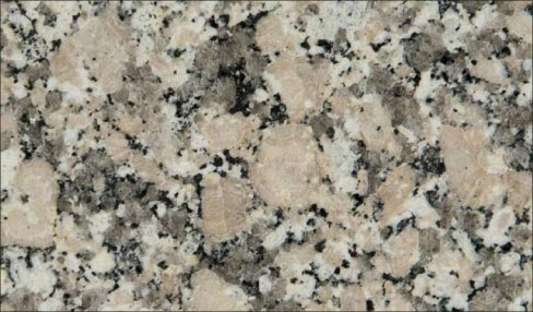 "Barcelona granite from MS International shows all the components of a standard ""granite:"" an interlocking texture with quartz and feldspar."