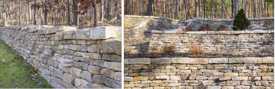 This traditional dry laid wall project includes a running wall, terraces and stairs.  According to Peachy, it took 30 dump truck loads of stone.