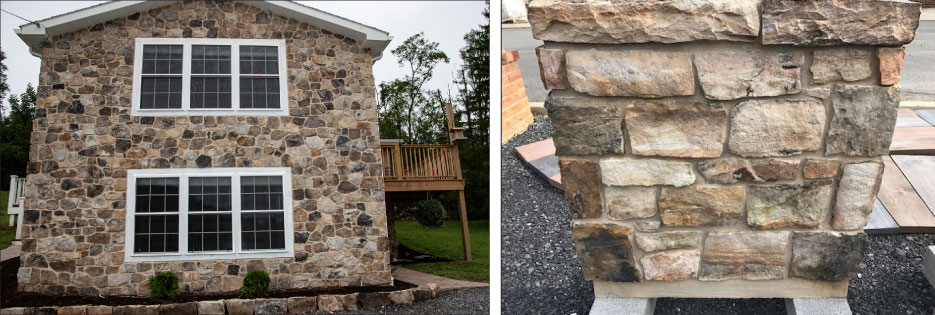 "This traditional, new home construction features natural stone thin veneer by Dry House StoneWorks.  Peachy: ""It's very important that they look like full bed-depth stone when installed, and not just little pieces of veneer.""   A sample of mixed colors in a thin veneer."