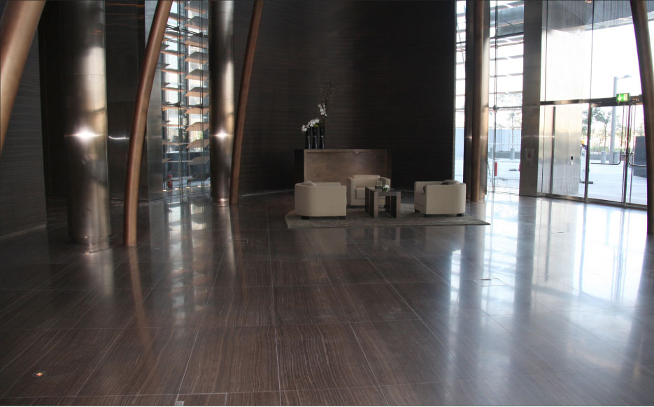 Polished Eramosa vein cut tiles and planks were chosen for the flooring and wall cladding at the Armani tower in Dubai.