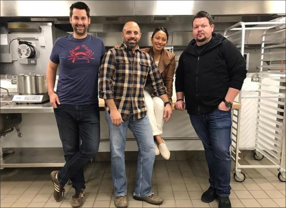 The chefs of RBC Hospitality Group. Jeff Systma, Richard Corbo, Chantelle Corbo and Chad Spencer.  Image courtesy of Bell Works.