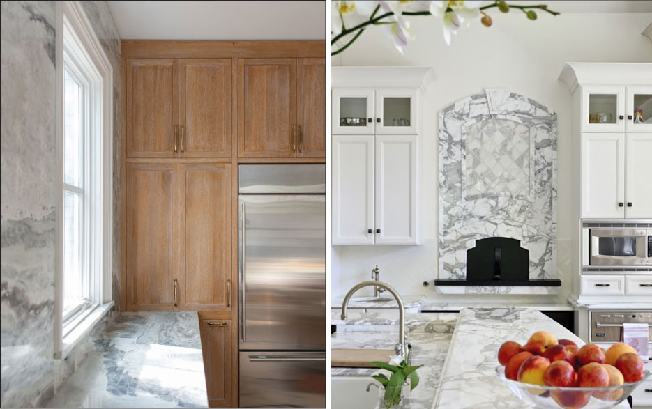 Above, Right: Natural Quartzite, Misto, 3cm polished from Terrazo and Marble Supply.   Photo Credit: Suzanne Shumaker for Shumaker Design+Build Associates   Above, Left: Calacatta gold kitchen with a pizza oven.   Photo courtesy of Artistic Tile.