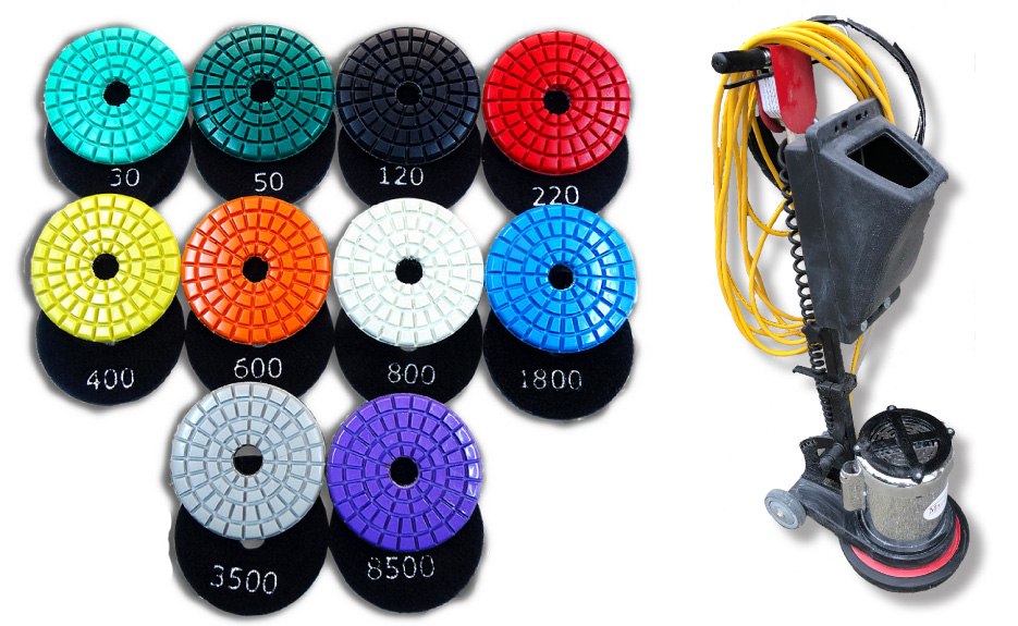 M3 Technologies TX Triple Thick discs are designed for grinding, honing and polishing marble, limestone, onyx, terrazzo, and similar hard materials. The Majestic 13-inch Heavy Duty Floor Machine is an excellent small-footprint polisher for maintenance.