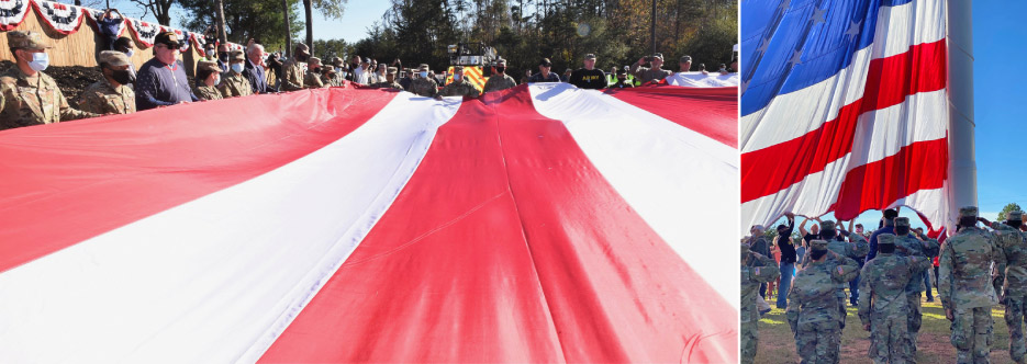 U.S. Armed Forces veterans and volunteers spread out the 20 x 40 foot flag before hoisting.