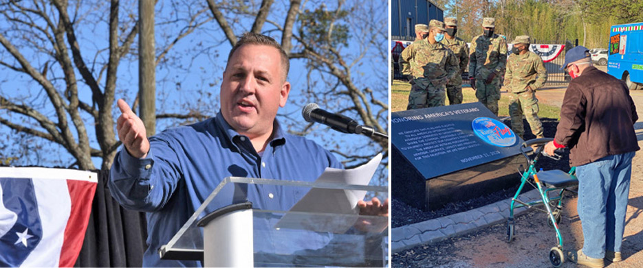 Paul Nichols, owner of Upstate Granite Solutions,  thanks the assembled Vets as they dedicate the flag. Over 1,500 people, including 300 veterans and active- duty U.S. soldiers turned out for the celebration.