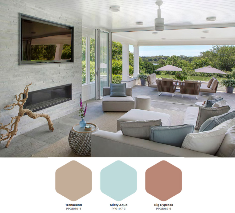 PPG's Be Well palette consists of three hues: Transcend, Big Cypress, and Misty Aqua. Transcend is a mid-tone oatmeal-colored hue which draws on earthy influences and nostalgia and grounds the Be Well palette