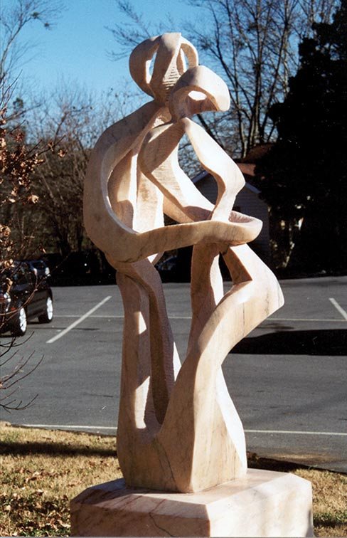 """Rapture,"" a 91 inch high x 36 inch wide x 36 inch deep sculpture was carved in 2002 from Portuguese marble, and is the second piece of Eino's ""Woven Series."""