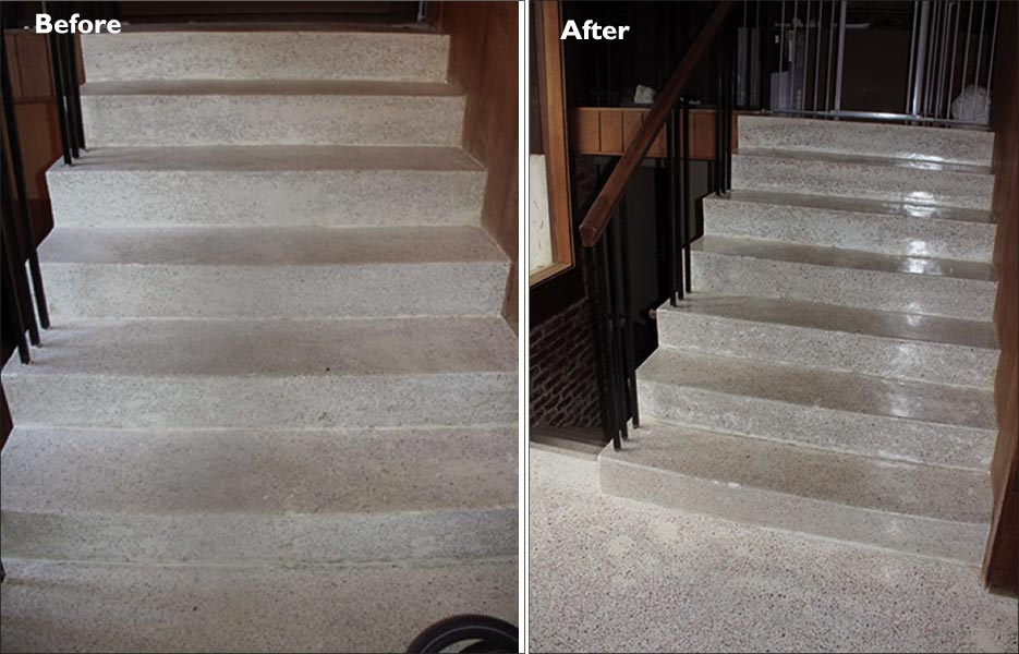 The Poured Terrazzo Stairs Were Also In Pretty Rough Shape, Including Acid  Staining And Wear