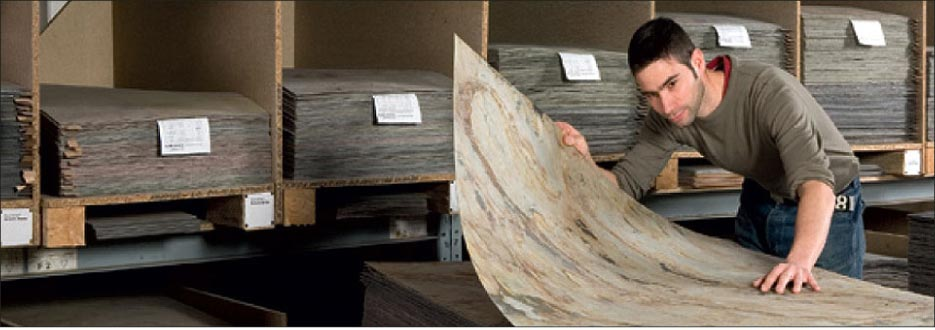 The ultimate in light, thin stone: VersaLite natural stone laminate is so thin it bends.