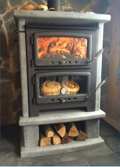 This Nectre Bun Baker XL 2500 stove was installed with 1,950 lbs. of 2-3/8 inch thick Soapstone veneer.
