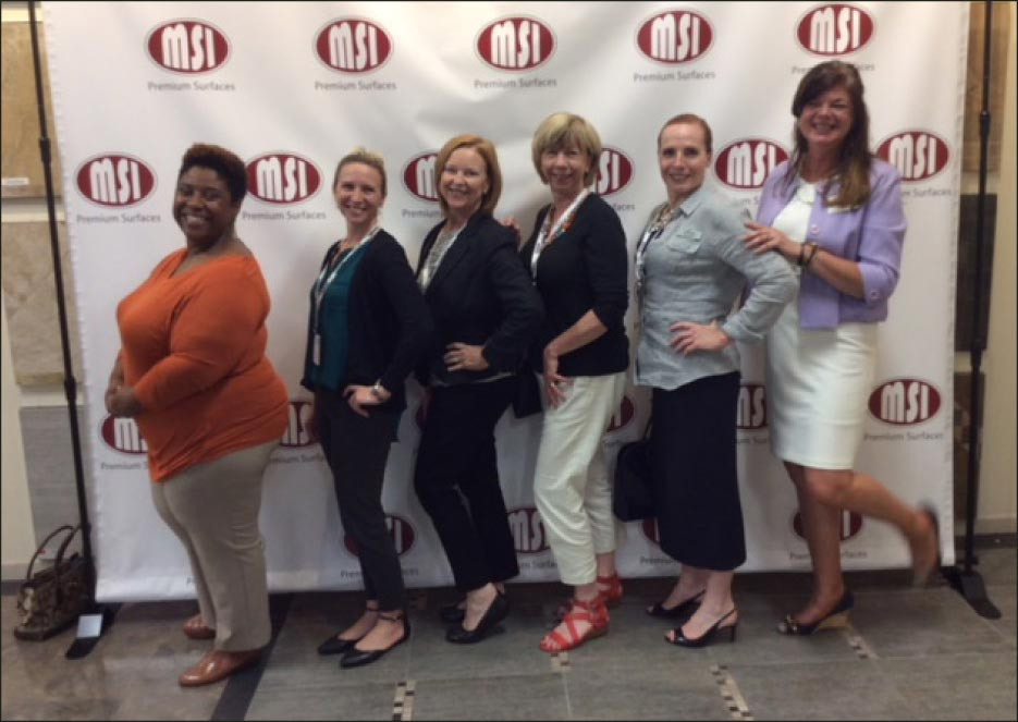 Left to Right: Meica Kelly, product promoter MSI; Sara, designer Cape Cod Kitchens; Kate Marchisio, Cape Cod Lumber; Linda Baldwin, Cape Cod Lumber; Toni Campbell, Cape Cod Lumber; Holly Nelson, MSI/MIA Speaker