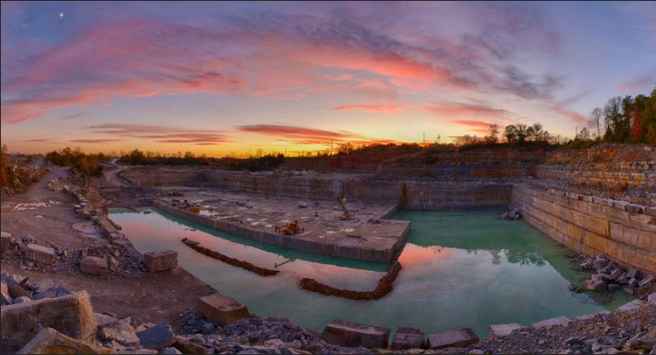 A dramatic backdrop for the Empire limestone quarry in Indiana.