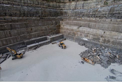 Indiana Limestone Company, quarry face.     Photo courtesy Indiana Limestone Company