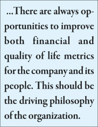 There are always opportunities to improve both financial and quality of life metrics for the company and its people. This should be the driving philosophy of the organization.