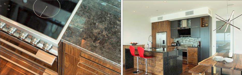 A granite that sparkles with labradorescence, St. Henry granite will appear black in low or slanting light, and full of large luminescent crystals under natural or reflected light