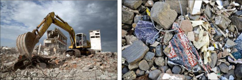 It is estimated that 170 million tons of construction debris is produced every year in the U.S. alone.  Left, above: An average home construction project creates 8,000 pounds of waste per every 2,000 square foot of house. Right, above: Much of this waste is made up of the building materials. In order to keep more materials out of overflowing landfills, the materials are subject to regulations at the local, state and federal level, making it even more appealing to consider finding alternative uses for remnants.
