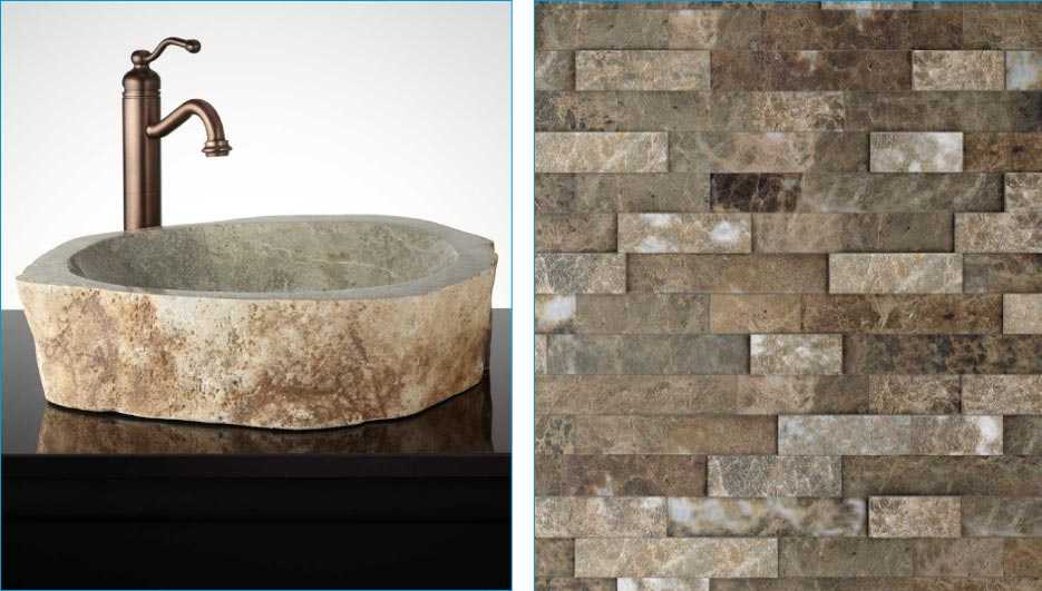 Simple, elegant indoor uses for stone remnants including vanity countertops, backsplashes, and bowl sinks.