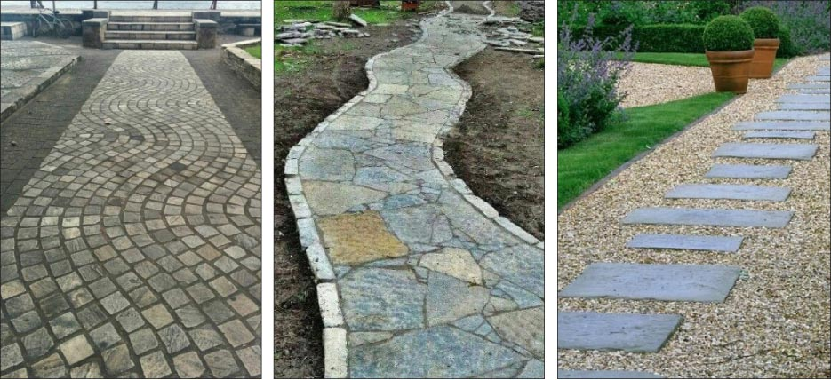 Many different patterns and configurations can be achieved using stone remnants for outdoor paths and paving.