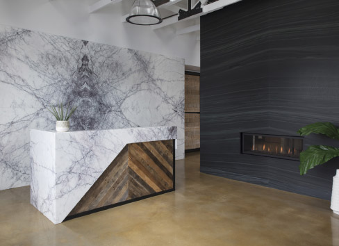 The United Marble Fabricator showroom is a showcase of the art of bookmatching.