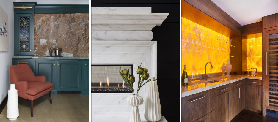 Above, Left and Middle: two vignettes from the UMF showroom. Above, Right: This stunning backlit Honey Onyx bar was awarded a 2015 Pinnacle Award of Excellence in the Residential Interior category.