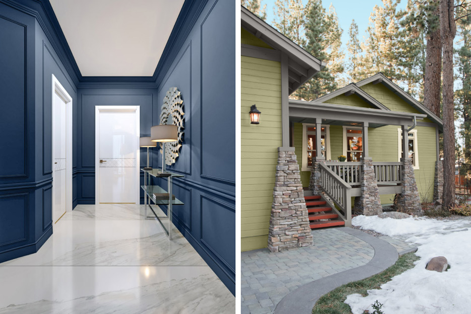 Above, left: Sherwin-Williams chose Naval as their 2020 Color of the Year. Above, right: Behr's 2020 Color of the Year, Back to Nature, pairs well with natural stone accents.