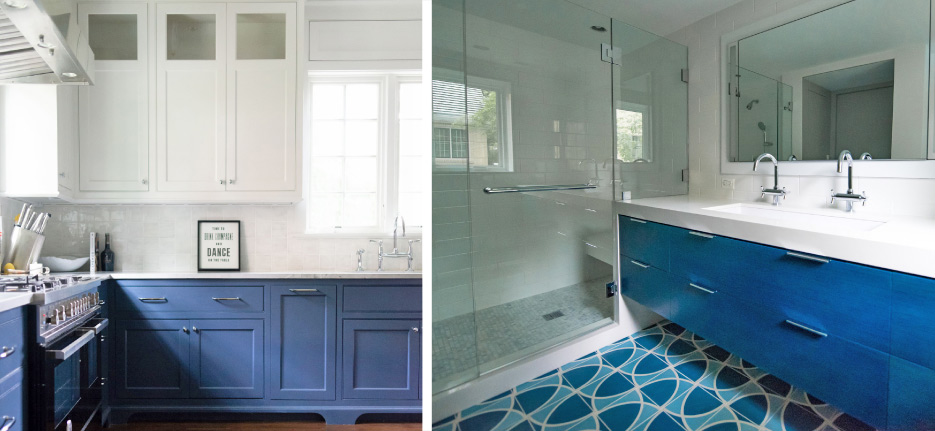 Above, left: Brazilian Calacatta quartzite paired with blue cabinetry. Above, right: Sherwin-Williams Naval blue paired aqua tiles and classic white vanity and shower