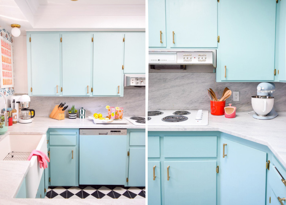 Paint cabinet color: Opal Silk by Behr – a perfect retro choice.