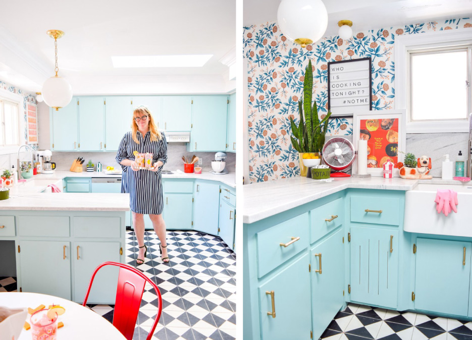 Designer Ariel Garneau serves up retro cocktails to match the vibe of her revamped design and the home's original charm. The cement tile here from Villa Lagoon looks like it might be the original flooring in a mint 1950's home. Garneau's clever sourcing balances retro and modern elements for a space that feels fresh. Above, right: The American marble countertops pair nicely with Copper Peonies Rifle Paper Co. x Hygge & West wallpaper and satin brass Myles Lever door handles with Modern Rectangular Rosette and Jasper cabinet and drawer