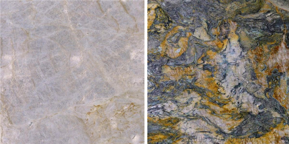 Above, left: Some white or light-colored quartzites are pretty much pure quartz, like Taj Mahal, Sea Pearl, and Allure. Above, right: The most striking features of Marine Blue quartzite are the swirls of quartz that melted when this stone was brought right to the brink of melting completely. The stone also contains mica minerals, and vivid orange accents of hematite.