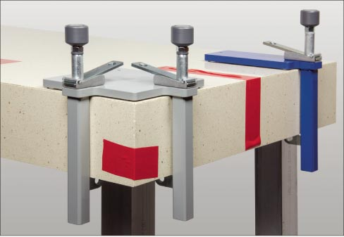 Omni Cubed's Miter-Up Clamps give you a secure hold while your adhesive sets, for the best possible results.