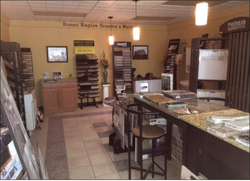 "Roman Empire Granite & Marble serves the greater Youngstown, Ohio, area. ""First, we educate our customers,"" explained Mike. ""We then take them through our shop and let them to view in full the stone they've picked out, using templates to make sure they are happy where we are placing their countertops. We offer both sinks and faucets and about 50 percent of our customers purchase them with their countertops."""