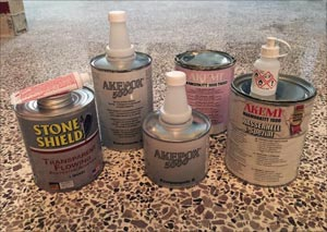 Transparent flowing, knifegrade and penetrating adhesives are specially formulated for specific gluing and filling operations on granite, marble, terrazzo and other natural stone and hard surfaces. Epoxies have an especially strong bond for repairing stone-to-stone breakage and are generally more weather-resistant than polyester adhesives.
